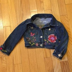Baby Gap Embroidered Jean Jacket 2 Toddler